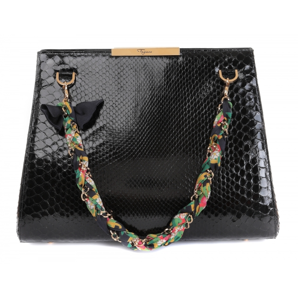 Maison Fagiano - Python Leather - Black - Artisan Bag - New Work Exclusive Collection - Luxury - Handmade in Italy