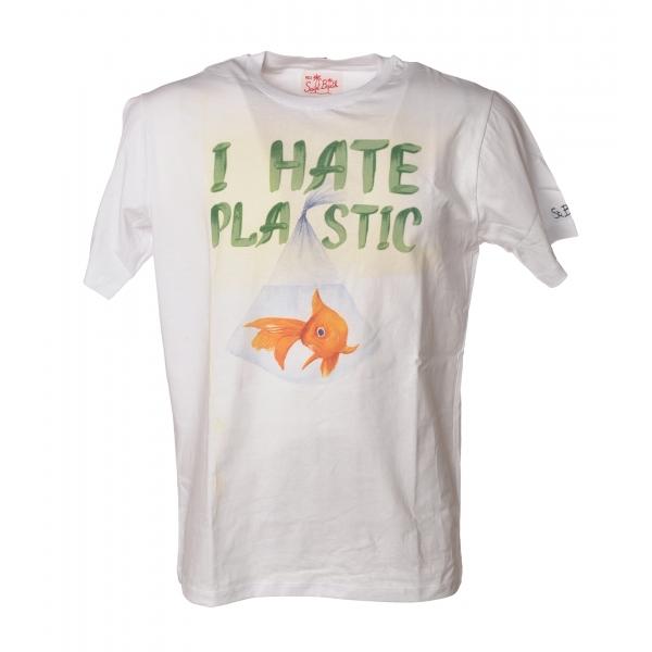 MC2 Saint Barth - T-Shirt Man Plastic Fish 01N - White - Luxury Exclusive Collection