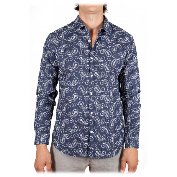 Poggianti 1985 - Cotton Shirt with Embroidery - Handmade in Italy - New Luxury Exclusive Collection