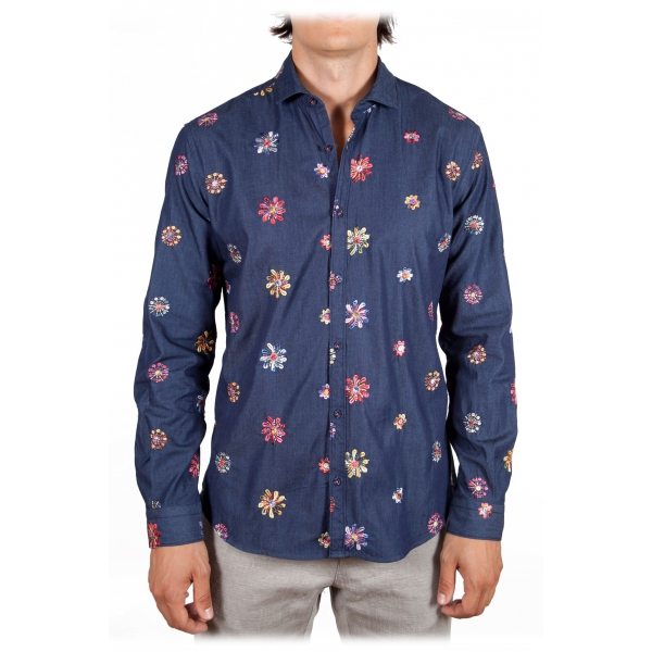 Poggianti 1985 - Denim Shirt with Embroidery - Handmade in Italy - New Luxury Exclusive Collection