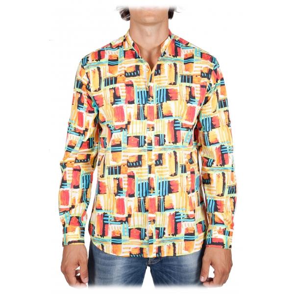 Poggianti 1985 - Camicia Fantasia Collo Coreano Multicolor - Handmade in Italy - New Luxury Exclusive Collection