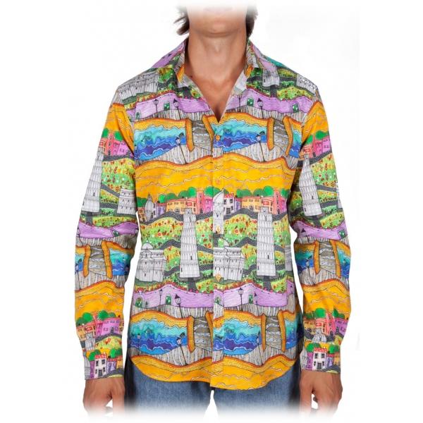 Poggianti 1985 - Camicia Fantasia Collo Italiano - Handmade in Italy - New Luxury Exclusive Collection