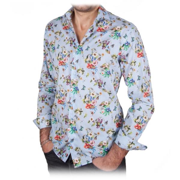 Poggianti 1985 - Camicia Fantasia Collo Francese - Handmade in Italy - New Luxury Exclusive Collection