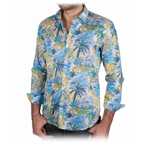 Poggianti 1985 - Italian Collar Patterned Shirt - Handmade in Italy - New Luxury Exclusive Collection