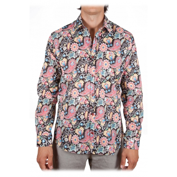Poggianti 1985 - Small Italian Collar Patterned Shirt - Handmade in Italy - New Luxury Exclusive Collection