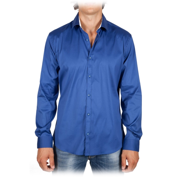 Poggianti 1985 - Solid Color Italian Collar Shirt - Handmade in Italy - New Luxury Exclusive Collection