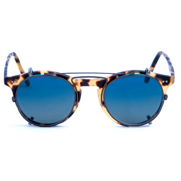 David Marc - ADAMO SUN-CLIP GUN METAL - Blonde Havana - Sunglasses - Handmade in Italy - David Marc Eyewear