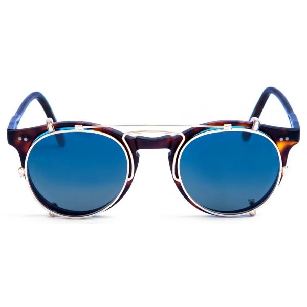 David Marc - ADAMO SUN-CLIP GOLD - Blonde Havana - Occhiali da Sole - Handmade in Italy - David Marc Eyewear