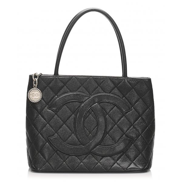 Chanel Vintage - Caviar Medallion Tote Bag - Nera - Borsa in Pelle Caviar - Alta Qualità Luxury