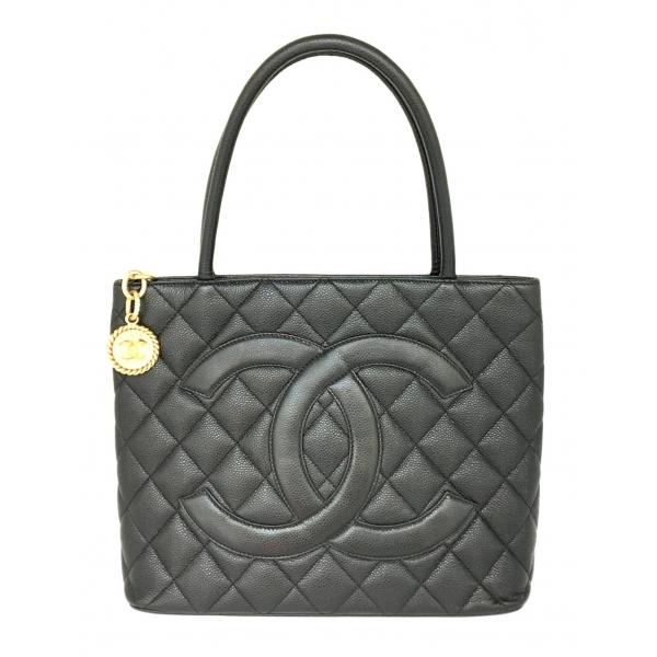 Chanel Vintage - Medallion Caviar Leather Tote Bag - Black - Caviar Leather Handbag - Luxury High Quality