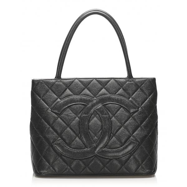 Chanel Vintage - Medallion Caviar Leather Tote Bag - Nera - Borsa in Pelle Caviar - Alta Qualità Luxury
