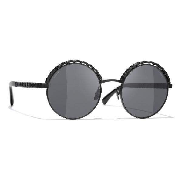 Chanel - Occhiali da Sole a Rotondi - Nero Grigio - Chanel Eyewear
