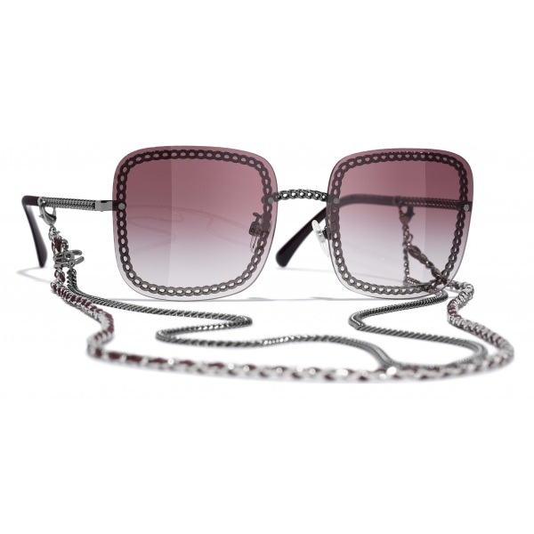 Chanel - Occhiali da Sole Quadrati - Argento Scuro Rosa - Chanel Eyewear