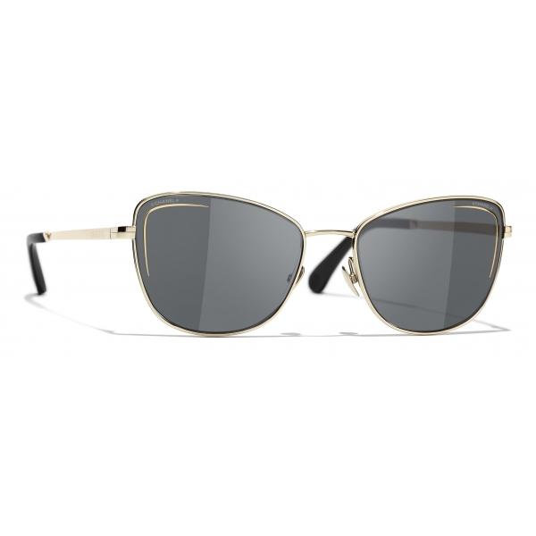 Chanel - Occhiali da Sole Cat-Eye - Oro Grigio - Chanel Eyewear