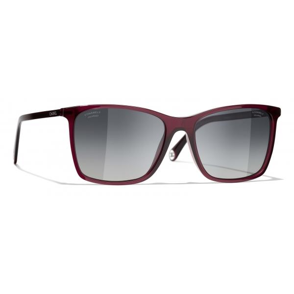 Chanel - Occhiali da Sole Quadrati - Rosso Grigio - Chanel Eyewear