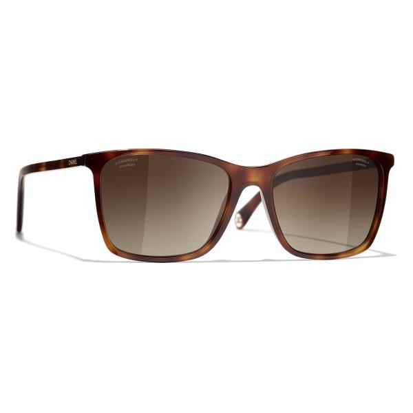 Chanel - Occhiali da Sole Quadrati - Tartaruga Marrone - Chanel Eyewear