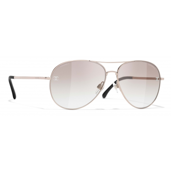 Chanel - Occhiali da Sole Pilota - Rosa Dorato Beige - Chanel Eyewear