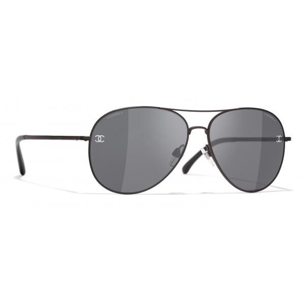 Chanel - Occhiali da Sole Pilota - Marrone Grigio - Chanel Eyewear
