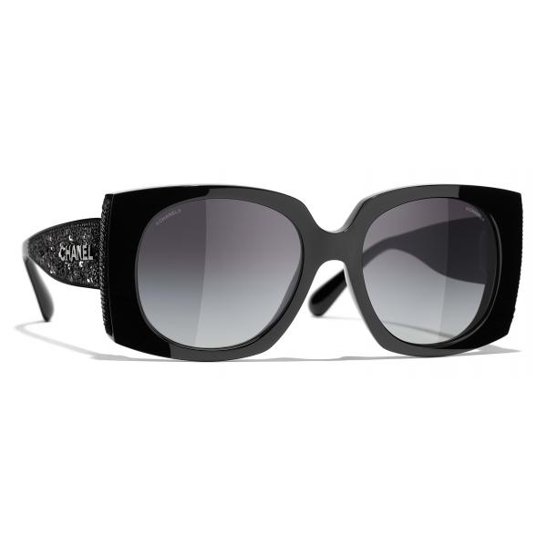 Chanel - Occhiali da Sole Rettangolare - Nero Grigio - Chanel Eyewear