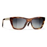 Chanel - Occhiali da Sole Rettangolari - Tartaruga Grigio - Chanel Eyewear