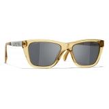 Chanel - Occhiali da Sole Rettangolari - Giallo Grigio - Chanel Eyewear