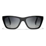 Chanel - Occhiali da Sole Rettangolari - Nero Grigio - Chanel Eyewear