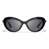Chanel - Occhiali da Sole Cat-Eye - Nero Grigio - Chanel Eyewear
