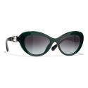 Chanel - Cat-Eye Sunglasses - Dark Green Gray - Chanel Eyewear