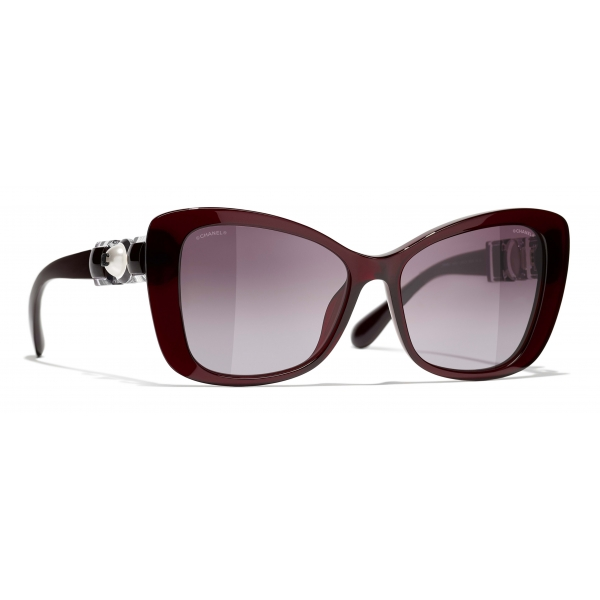 Chanel - Occhiali da Sole a Farfalla - Rosso Scuro - Chanel Eyewear