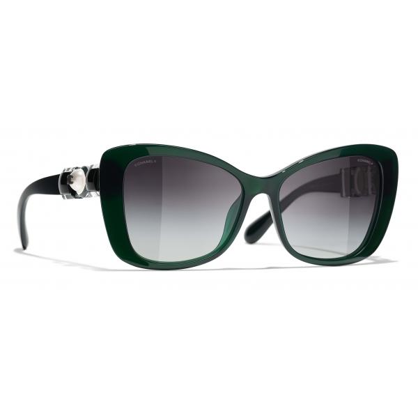 Chanel - Occhiali da Sole a Farfalla - Verde Scuro Grigio - Chanel Eyewear