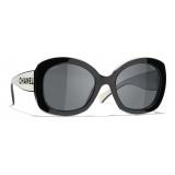 Chanel - Square Sunglasses - Black White Gray - Chanel Eyewear