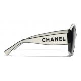 Chanel - Occhiali da Sole Quadrati - Nero Bianco Grigio - Chanel Eyewear