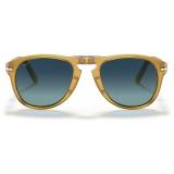 Persol - 714 Steve McQueen - Original - Miele / Polarized Light Blue Gradient - PO0714SM 204 S3 54-21 - Sunglasses - Eyewear