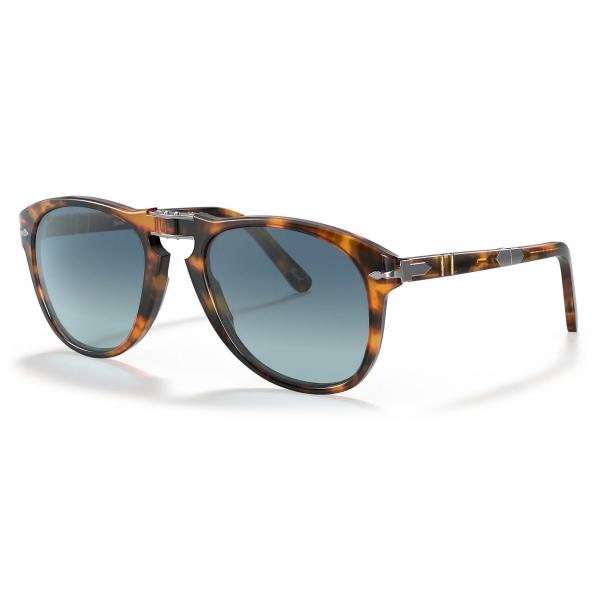Persol - 714 Steve McQueen - Original - Caffè / Azzurre Polarizzate - PO0714SM 108/S3 54-21 - Occhiali da Sole - Persol Eyewear