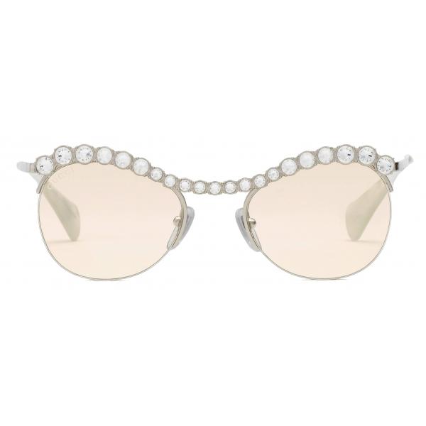 Gucci - Occhiali da Sole Cat-Eye con Cristalli - Argento Giallo - Gucci Eyewear