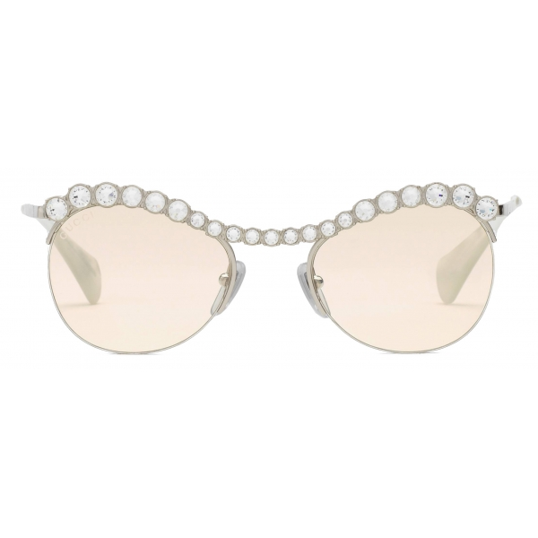 Gucci - Cat-Eye Sunglasses with Crystals - Silver Yellow - Gucci Eyewear