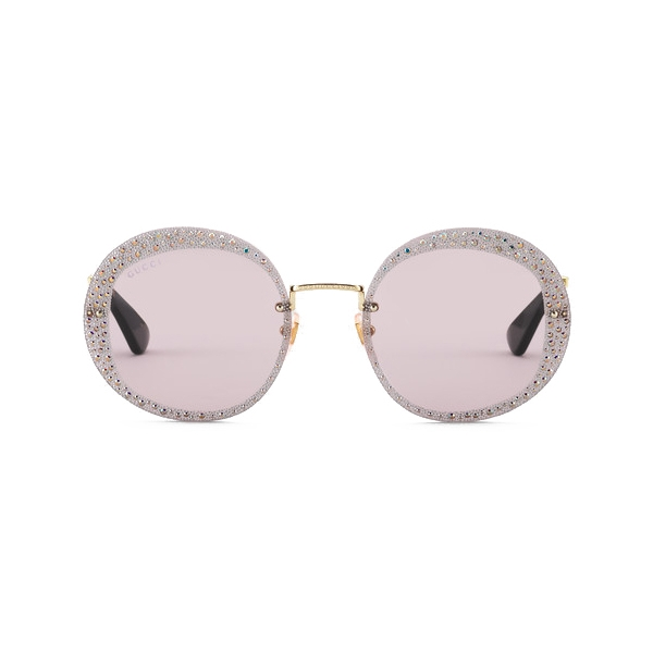 Gucci - Round Sunglasses with Crystals - Gold Violet - Gucci Eyewear