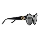 Gucci - Cat-Eye Sunglasses with Crystals - Black Gray - Gucci Eyewear