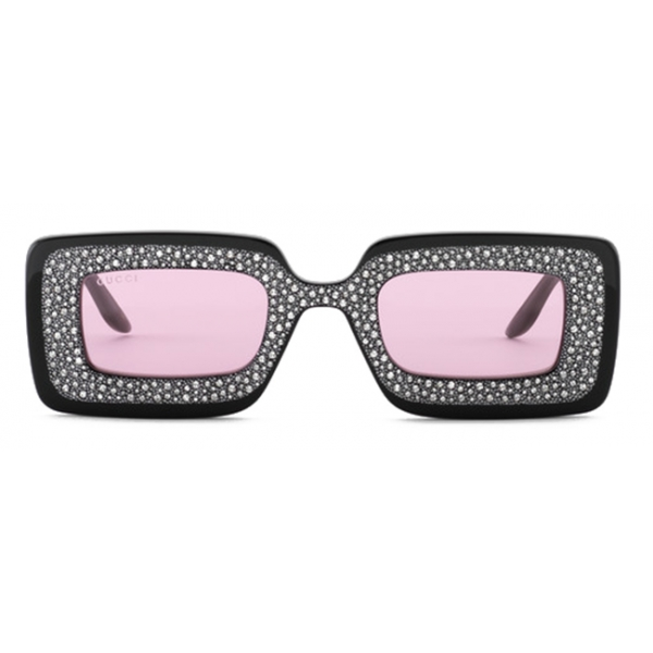 Gucci - Rectangular Sunglasses with Crystals - Black Pink - Gucci Eyewear