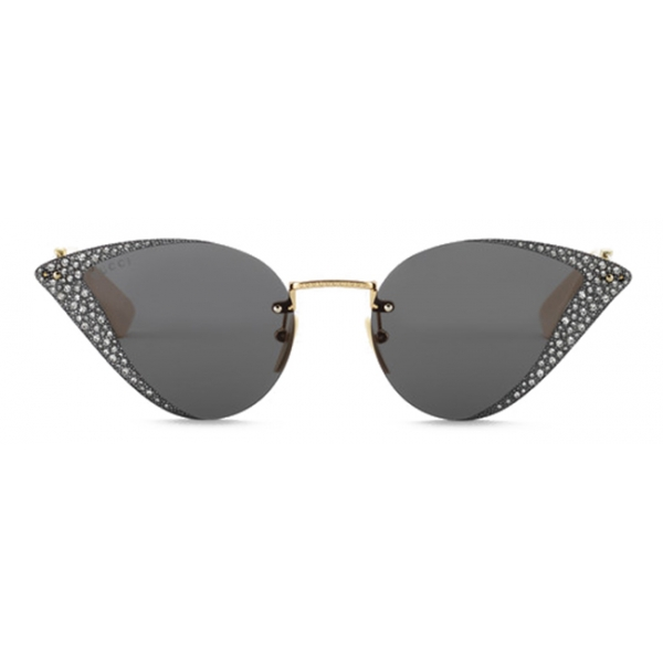 Gucci - Cat-Eye Sunglasses with Crystals - Gold Gray - Gucci Eyewear