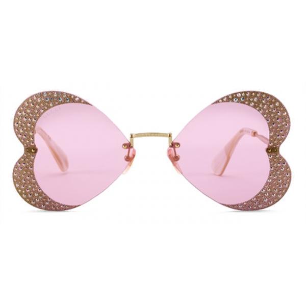 Gucci - Occhiali da Sole a Cuore con Cristallo - Oro Rosa - Gucci Eyewear