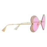 Gucci - Heart-Shaped Sunglasses with Crystals - Gold Pink - Gucci Eyewear