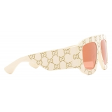 Gucci - Rectangular Sunglasses with GG - Ivory - Gucci Eyewear