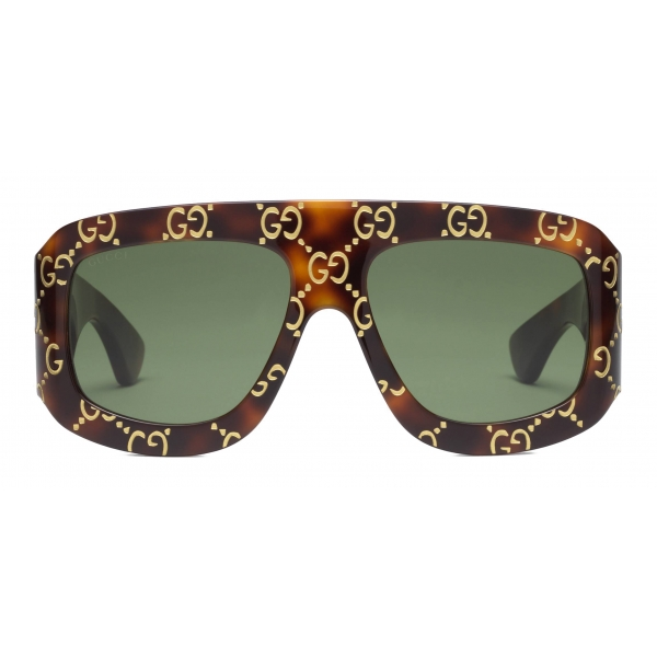 Gucci - Occhiali da Sole Rettangolari con Motivo GG - Tartaruga - Gucci Eyewear