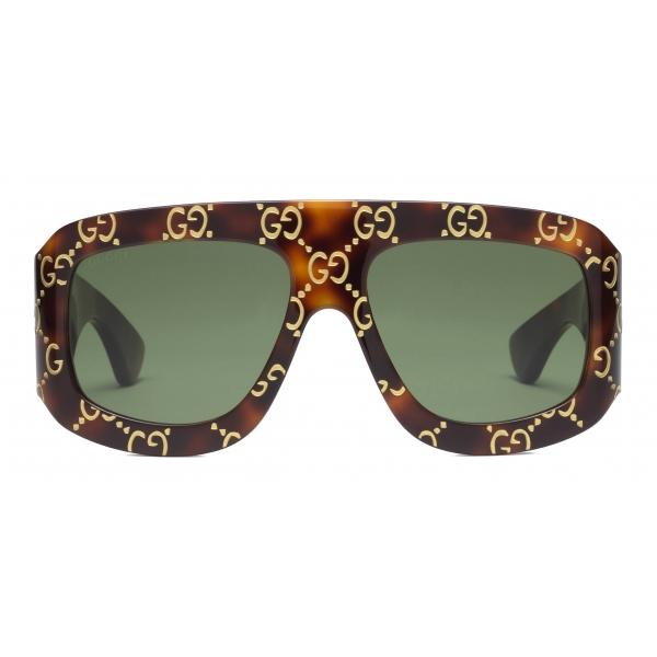 Gucci - Rectangular Sunglasses with GG - Tortoiseshell - Gucci Eyewear