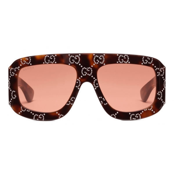 Gucci - Occhiali da Sole Rettangolari con Motivo GG - Tartaruga Arancione - Gucci Eyewear