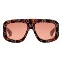 Gucci - Rectangular Sunglasses with GG - Tortoiseshell Orange - Gucci Eyewear