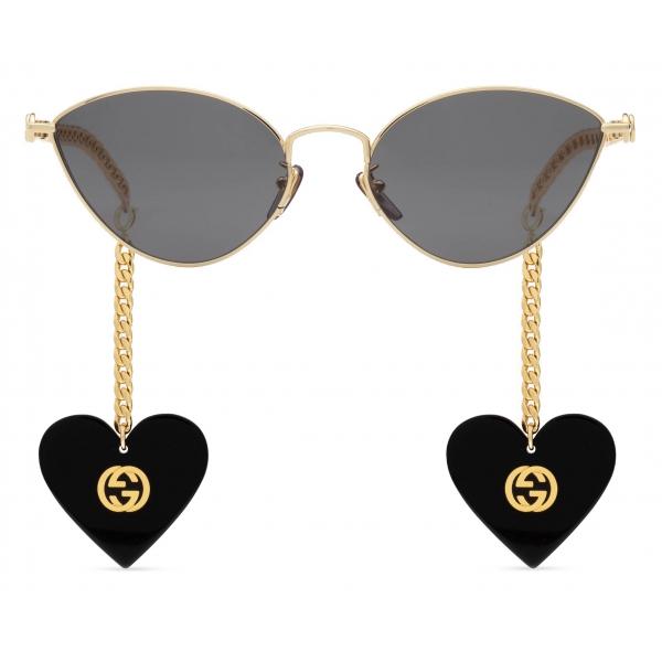 Gucci - Occhiali da Sole Cat-Eye con Ciondoli a Forma di Cuore - Oro Grigio - Gucci Eyewear