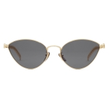 Gucci - Cat-Eye Sunglasses with Heart Shaped Charms - Gold Gray - Gucci Eyewear