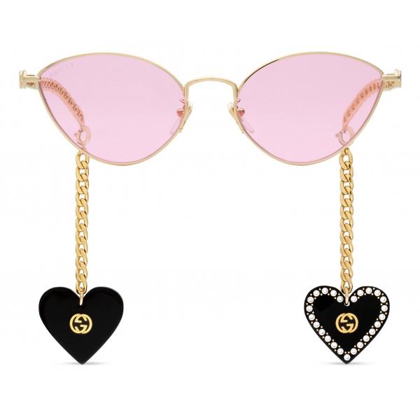 Gucci - Occhiali da Sole Cat-Eye con Ciondoli a Forma di Cuore - Oro Rosa - Gucci Eyewear
